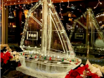 Sailboat with Ornaments Frozen in Hull and Christmas Lights on Sails 40x40 $600.00